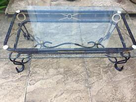 Coffee table glass top with metal frame
