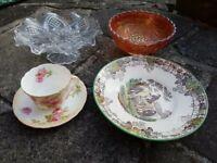 Vintage bone china: Fruit Glass Bowl, Copeland Spode's Byron plate etc