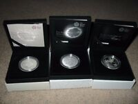 ROYAL MINT 2015 £5 SILVER PROOF COINS - PRINCE GEORGE / PRINCESS CHARLOTTE - BRAND NEW - COST £240