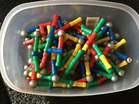 Box of educational magnetic pieces