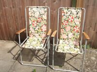 Vintage foldaway deckchairs x 2. Lightweight, small-sized Aluminium frame with fabric back/seat.