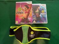 Wii Zumba Fitness and Fitness 2 games plus unused Zumba belt