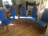 Dinning room chairs - 5 in total 1 with arms.