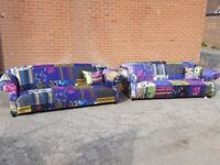 Comfy Patchwork sofa suite.velvet material,pair of 3 seater sofas. 1 month old.clean.can deliver
