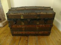 Large Wooden Antique/Vintage Pirate Steamer Chest/Trunk - Storage Box - Dome Top
