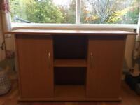 Fish tank cabinet.