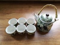 Used Miniature Oriental Panda Bamboo Style Tea Set + 6 Small Cups