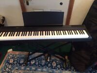Yamaha P-105 digital piano, with pedal, case, and stand.