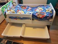 Lovely wooden 'Animals' toddler bed, matress and storage drawers