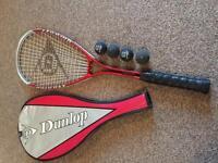 Squash racquet and balls