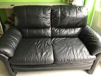 X2 2 seater leather sofas in black