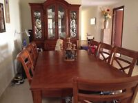 Beautiful 8 Seater Dining Table + Chairs + Display Cabinet