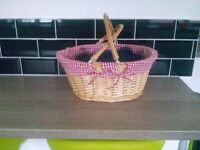 Large Wicker Basket with Handles with Red & White Checked Lining - Brand New - Hamper