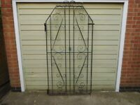 Vintage Wrought Iron Style Heavy Metal Gate. Side, Entry Garden Restoration Project