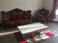Italian red 5 piece sofa set and recliner