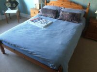 Double pine bed (with mattress - used - if wanted)