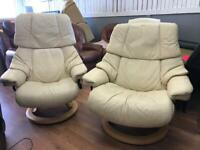 Pair of Stressless Eroknes Reno Swivle Recliners FREE MIDS DELIVERY