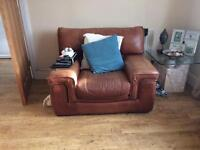Tan leather suite sofa & 2 chairs