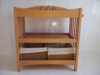 Baby changing table (wooden) Mamas and Papas with two baskets.