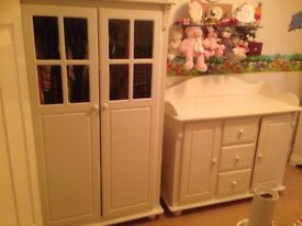 Childrens wardrobe and Chest/changing station in white