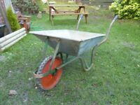 Galvanised wheel barrow.