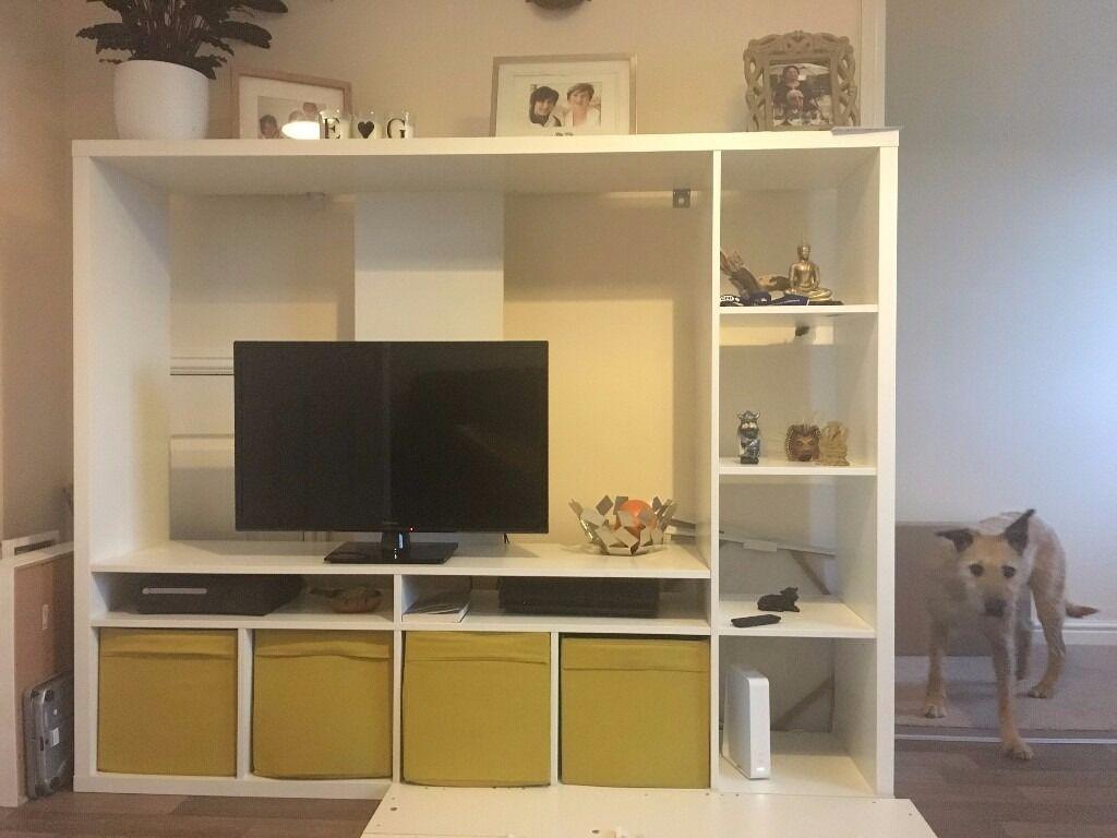 White Ikea Lland Tv Shelving Unit