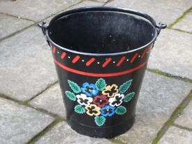 HAND PAINTED NARROW BOAT STYLE BUCKET/PLANTER FOR GARDEN. PERFECT FOR SUMMER FLOWERS DISPLAYS!