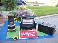 ANTIQUE HEATERS And COCA COLA SIGN+ WASHSTAND