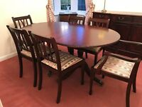Mahogany Dining Table & chairs (Sideboard & corner cabinet in seperate add)