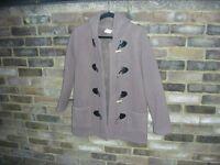 Ladies Beige Hooded Duffle Coat - Size 10