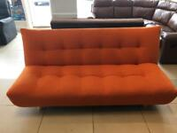 Brand New Orange Fabric Small Double Clic Clac Sofa bed