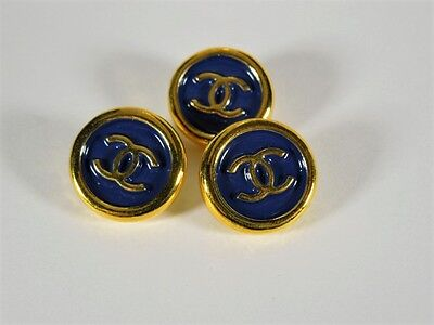 VINTAGE CHANEL REPLACEMENT BUTTON STAMPED NAVY GOLD CC 18MM