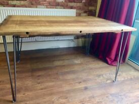 Beautiful Solid Heavy Beech Table with Modern 12mm 3 prong Hairpin Legs - Very Heavy *Solid Beech*