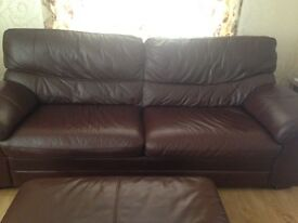 Furniture Village Brown leather 3 seater sofa, 2 seater sofa & pouffe.