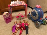 Barbie dolls with cafe and carriage