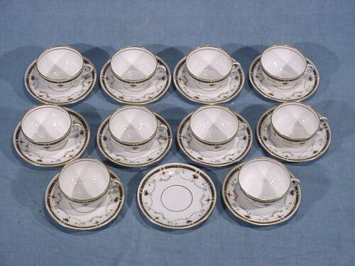 GINORI H POMPEIAN FINE CHINA Italy 10 TEA COFFEE CUP & SAUCERS antique