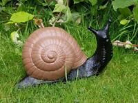 Snail; cast stone garden ornament