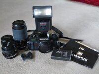 Olympus OM40 camera plus 3 lenses, miranda flash and filters and carry bag