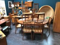 Large Extending Dining Table & 8 Chairs By G Plan. Retro Vintage Mid Century