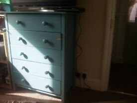 Chest of drawers blue/wood