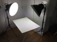 Complete studio set-up 2 x Bowens 530 Streamlights with diffusers, 2 x stands and shooting table.