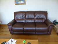 Soft leather 3 seater sofa.