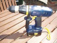 Power Pro cordless combination tool kit: Hammer drill, circular saw, reciprocating saw, torch.
