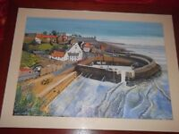 crail harbour by A.C. Beveridge 2000 Original artwork large (4 ft x 3 ft) framed.