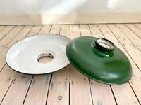 Vintage large enamel metal industrial factory green light pendant lamp shade