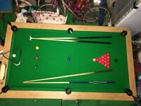 7ft Pool table - Includes cues, a set of pool and snooker balls, scorer, cue stand etc.