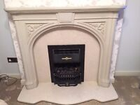 Stone resin fireplace with marble hearth and marble insert