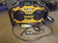 Dewalt DC011 Worksite Radio/Charger 110v plus MP3 Player and lead