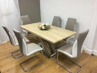 Dining table and 6 faux leather chairs