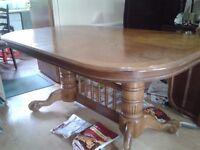 Extendable dining table,carved,solid oak,lion shape leg,165-210CM,adjust screws